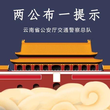 """云南公安交警发布2020年春节出行道路交通安全""""两公布一提示"""""""