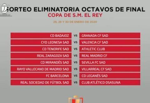 国王杯八分之一决赛对阵:皇马vs萨拉戈萨,巴萨战莱加内斯
