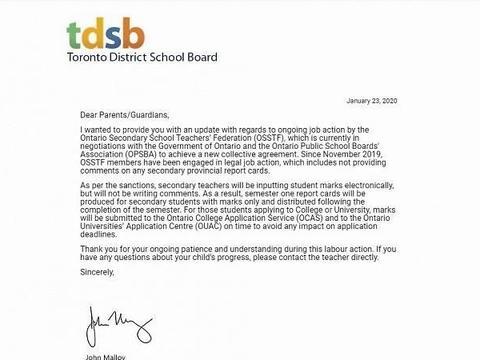 快讯:受罢工影响 加拿大多伦多高中生成绩单将没有评语