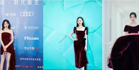 一般人不敢穿的酒红色丝绒裙,秦岚性感,倪妮高级,刘亦菲仙气