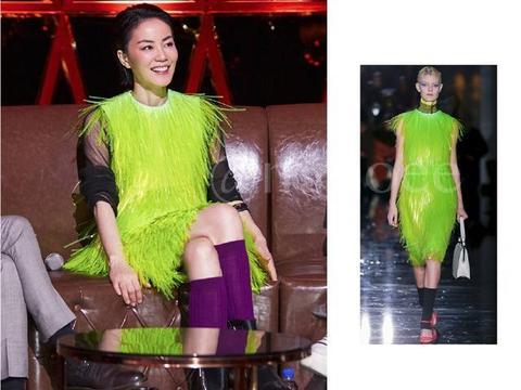 50岁王菲穿Prada配紫袜,荧光绿土俗东北大坎肩也穿身上