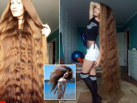 俄罗斯一女孩14年不曾剪头,金发1.5米长像瀑布,十分漂亮!
