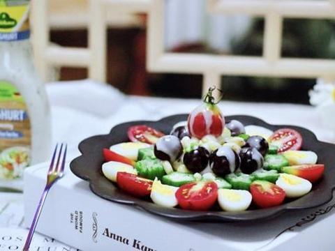 年后的减肥餐,满月春色之水果沙拉,除了蔬果还有蛋