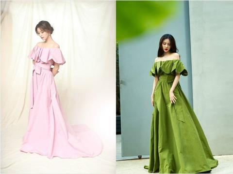 同穿露肩花瓣边礼服,宋妍霏绿色装清新大气,文咏珊粉色装太甜美