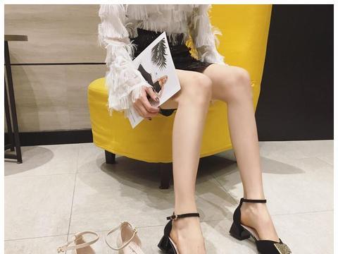 针洋气一字扣带中跟鞋织条纹浅口细跟鞋