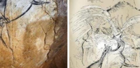 科学家在古代洞穴中发现壁画,是记录火山的图案