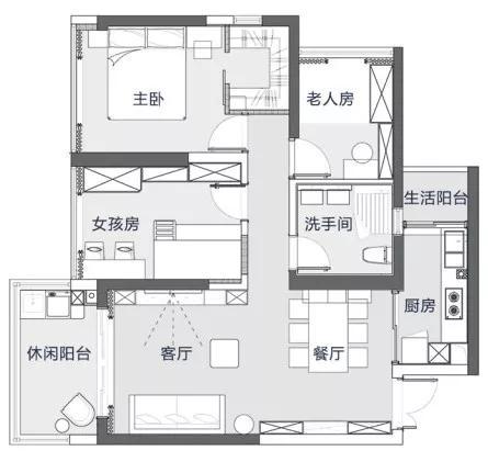 102平的轻奢风三房,住下一家四口,刚需房的设计典范