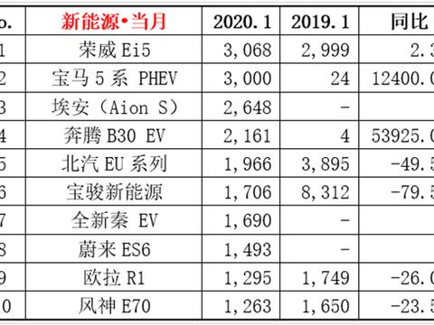 1月新能源汽车销量榜新成员太多?荣威Ei5登上榜首