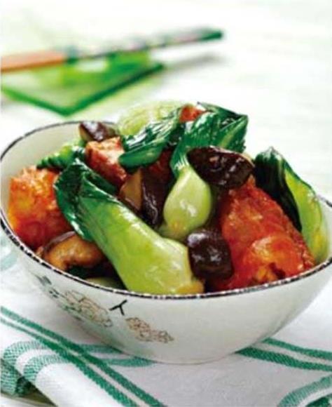 菠菜香菇拌金枪鱼、油菜蒜炒油条、油菜香菇烧豆腐