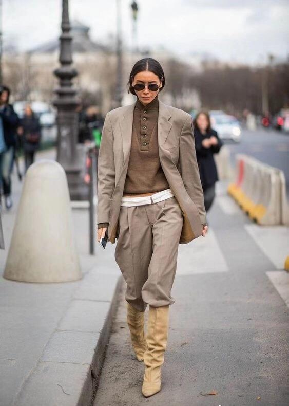 不露腿也时尚,长裤+长靴穿搭示范,