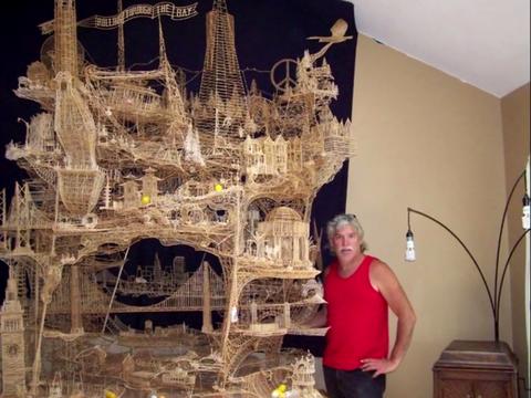 世界最精美的艺术品,37年用10万根牙签,拼造出一座旧金山城市!