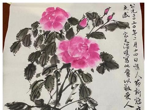 央视主持人朱军情人节秀恩爱,画玫瑰赠爱人,温馨又浪漫