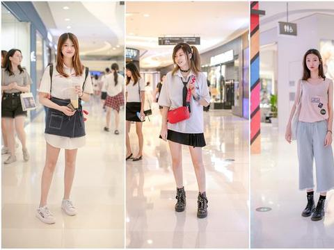 街拍时尚潮人穿搭,黑白搭配裙装时尚年轻,短袖搭牛仔裤休闲清爽