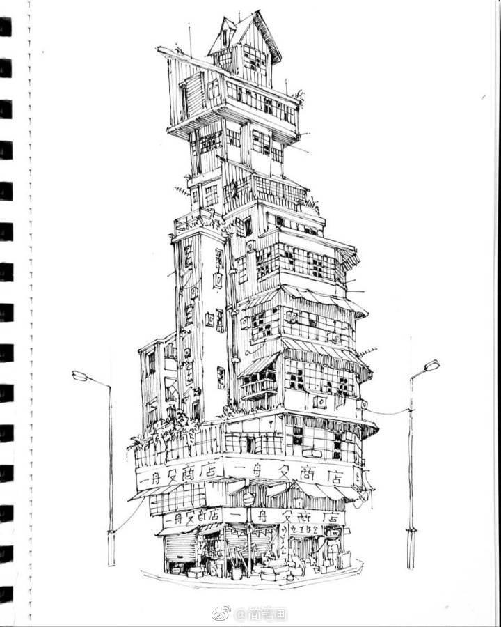一组黑白城堡手绘(by:josefine svrd)