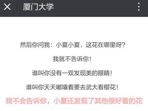 """因为樱花,武汉大学火得""""一塌糊涂"""",厦门大学有点""""嫉妒""""了!"""
