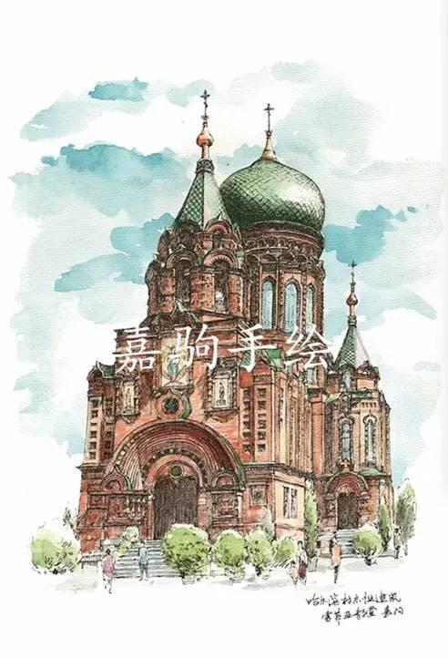 手绘哈尔滨教堂,能叫出每个教堂的名字证明你是哈尔滨图片