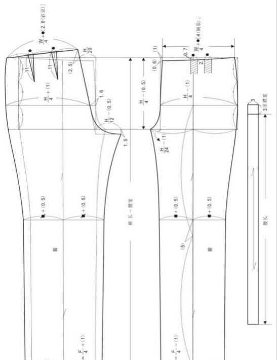 裤子制版|9种变化裤型的结构设计和图纸参考|锥形裤