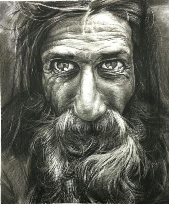 手绘黑白素描女生,男生,老人, 别具风格的绘画艺术