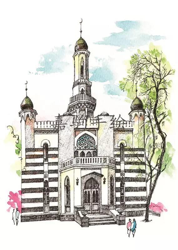 手绘哈尔滨教堂,能叫出每个教堂的名字证明你是哈尔滨