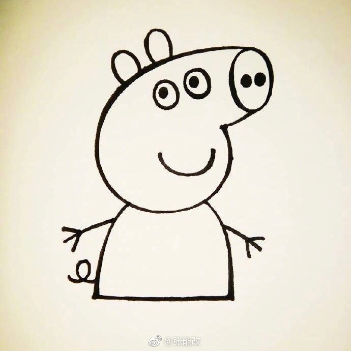 小猪佩群正面  正面太丑,小猪佩奇是侧颜杀,给大家分享一下速画小猪