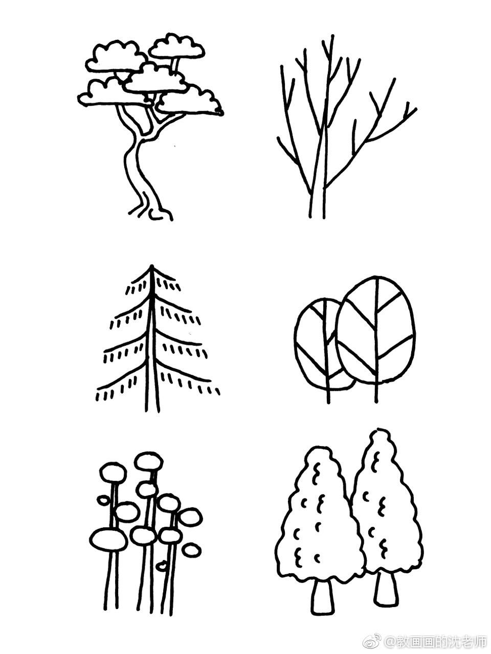 植物树木原创简笔画手绘手帐素材~作者