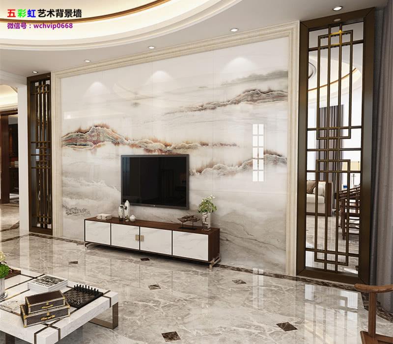 5,微晶石电视背景墙搭配实木雕花边框装修效果图