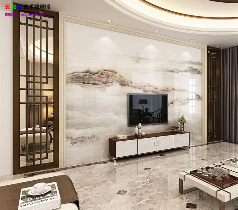 10,微晶石电视背景墙搭配实木花格边框装修效果图
