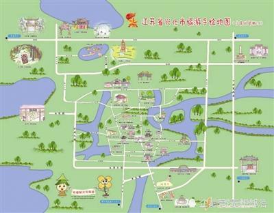 小学生手绘兴化旅游地图 方便外地游客按图索骥