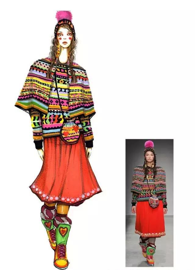 手绘时装画|针织材质服装马克笔表现
