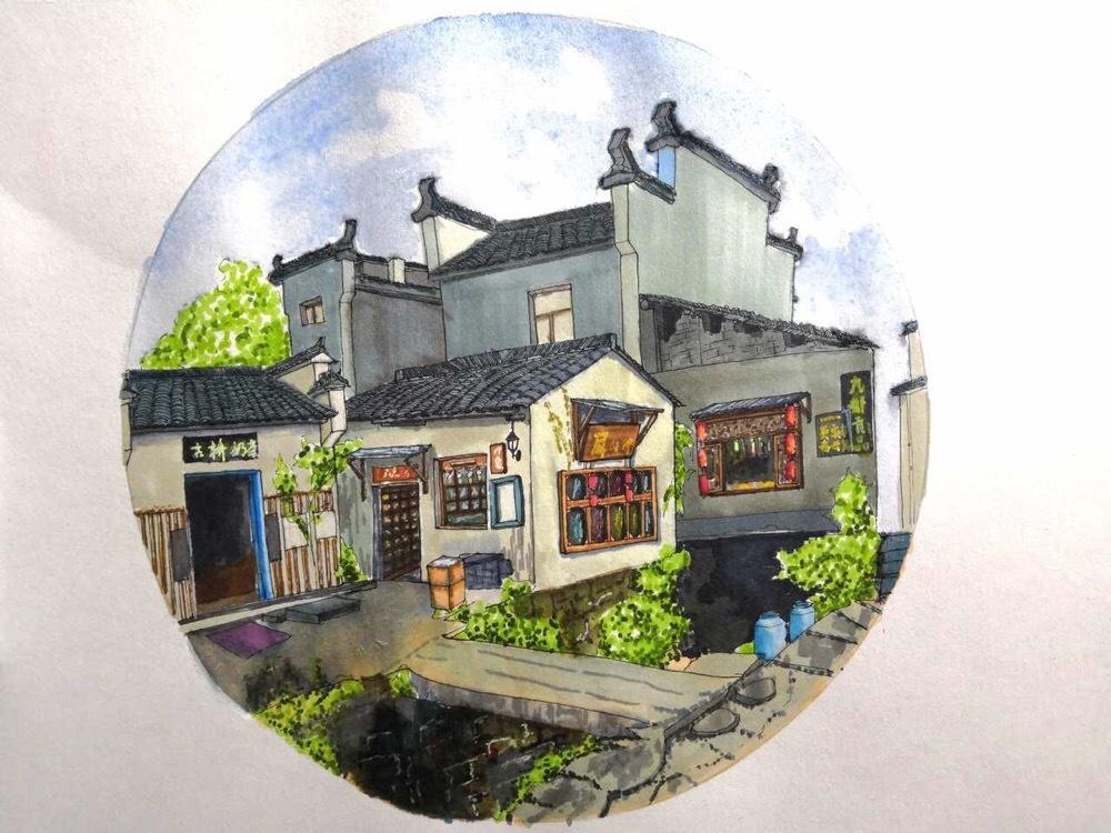 屏山的小房子,马克笔风景第三张,顺手放个过程图.作者