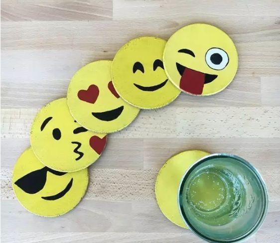 「创意手工」儿童手工制作表情符号杯垫 可爱极了