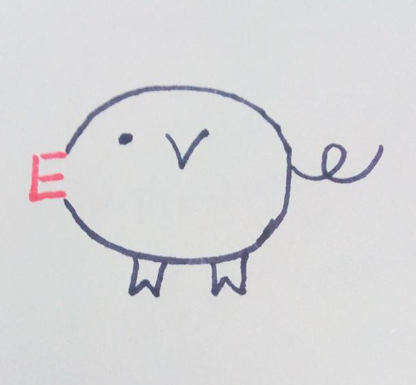 幼儿创意简笔画|用字母e画可爱的小猪猪,你也可以做得到