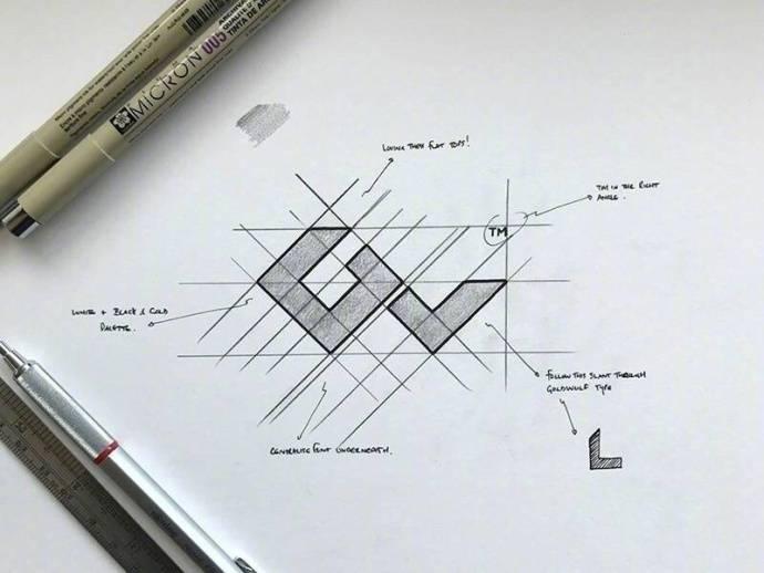国外设计师的手绘logo草稿