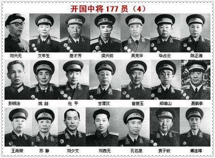 1955-1958年授衔的中国人民解放军177位开国中将名单