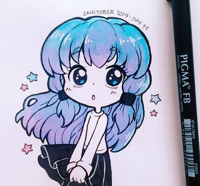 水彩马克笔结合手绘可爱q版动漫小女生,超级卡哇伊