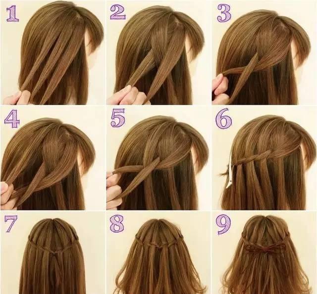 只需让头发旋转,跳跃…… 头从发两侧编一个麻花辫,然后在编发的过程图片