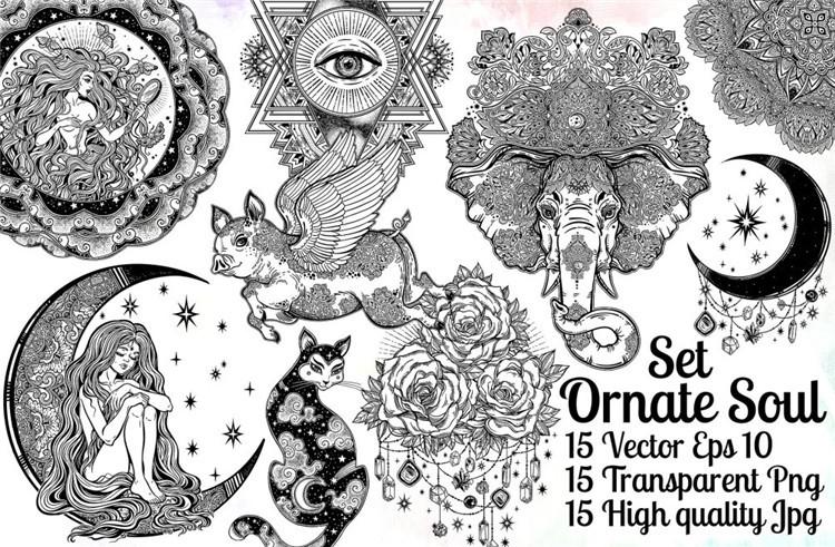 复古手绘闪光纹身印花创意插图海报包装希米亚ai设计素材 更多详情>