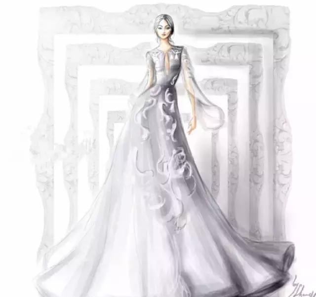 他基于时装周的手绘礼服插画完美还原了时装周唯美的t台款式和各种