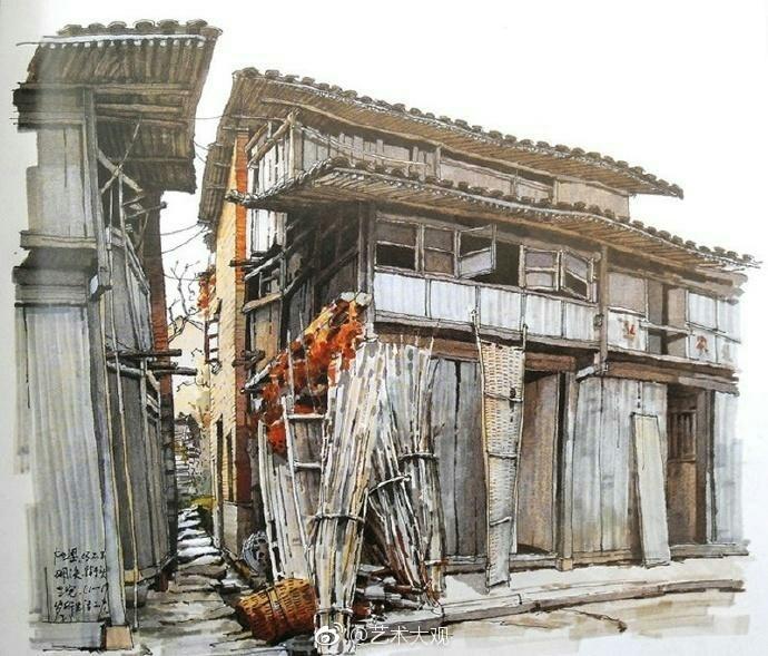 夏克梁建筑手绘作品欣赏_新浪看点