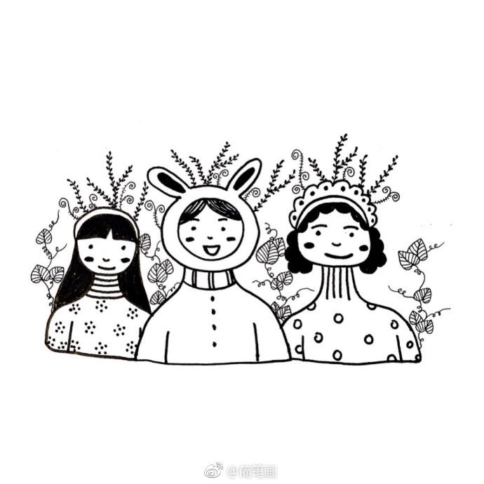 手绘黑白简笔画(作者:爱画画的-丹丹)