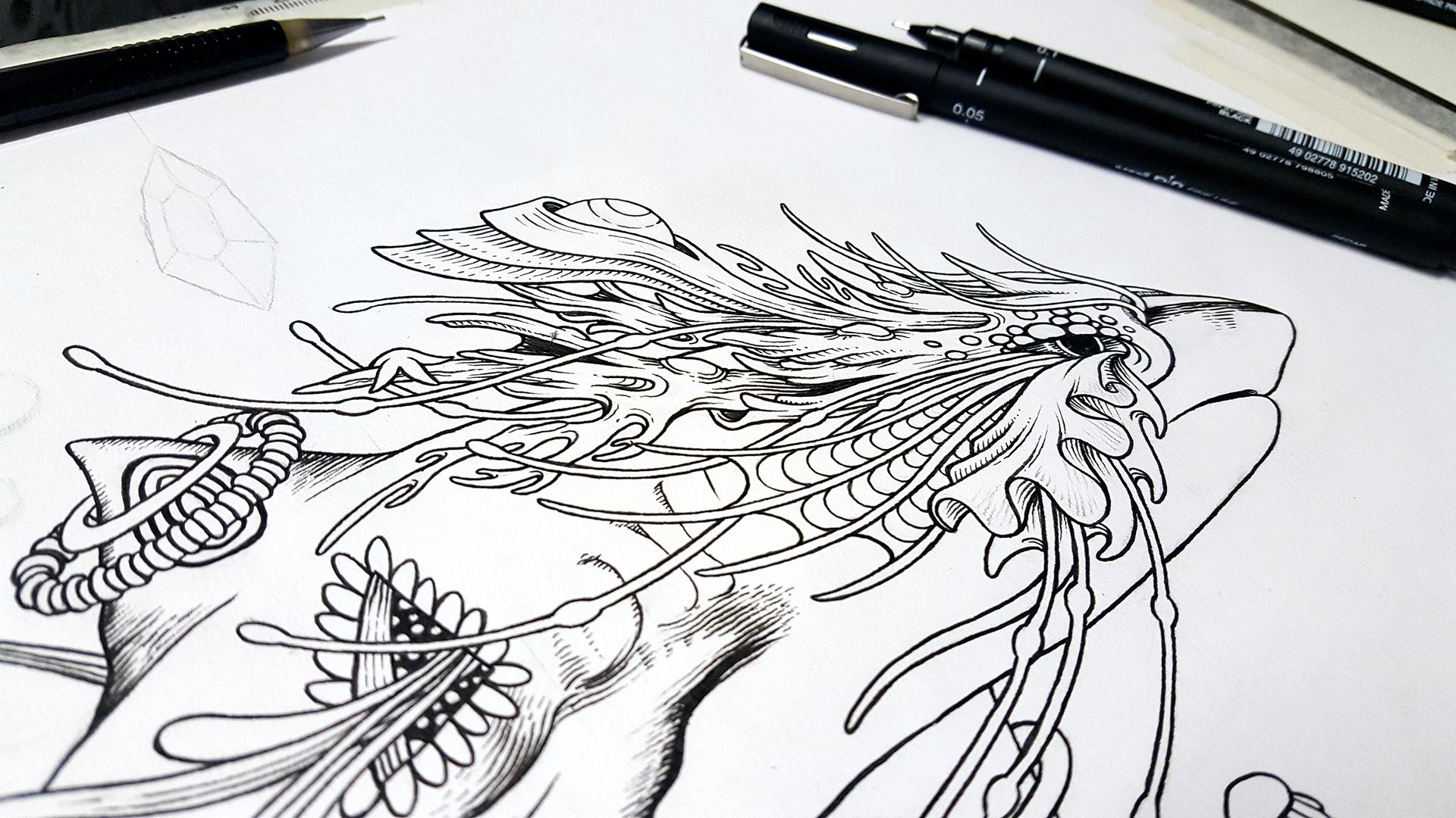 手绘山海经--鲲鹏插画 图形设计 手绘illustration graphic design