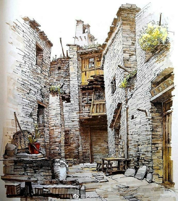 夏克梁建筑手绘作品欣赏