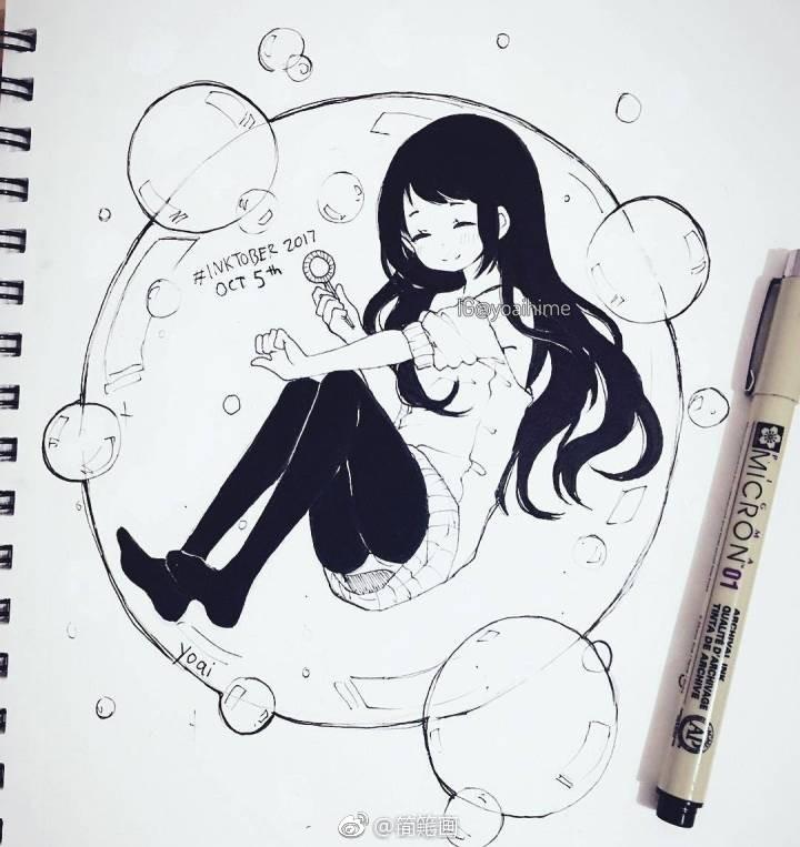 手绘黑白动漫女孩线稿(ins:yoaihime)