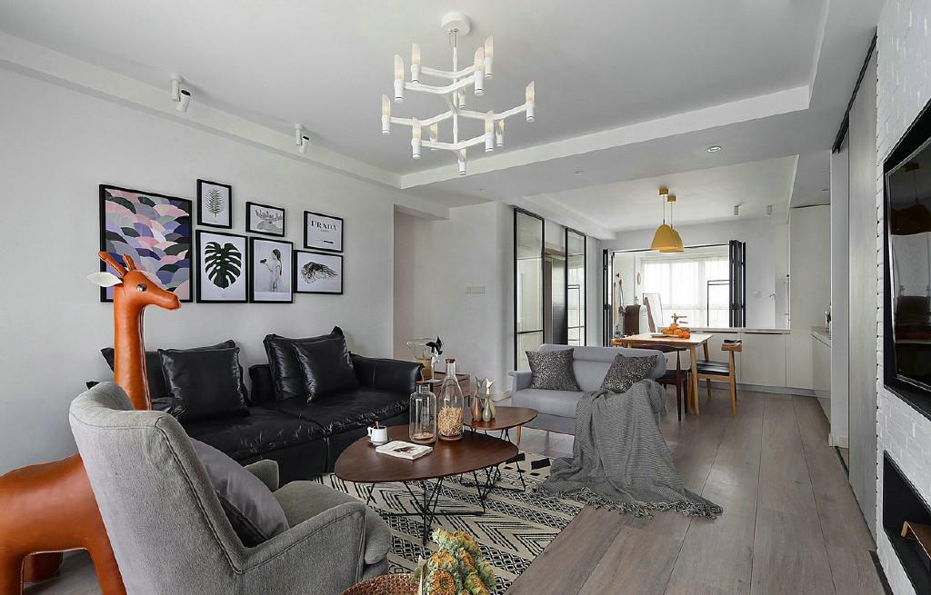 116㎡现代简约北欧风家居装修,简洁明快,清新淡雅,卧室的木地板背景墙图片