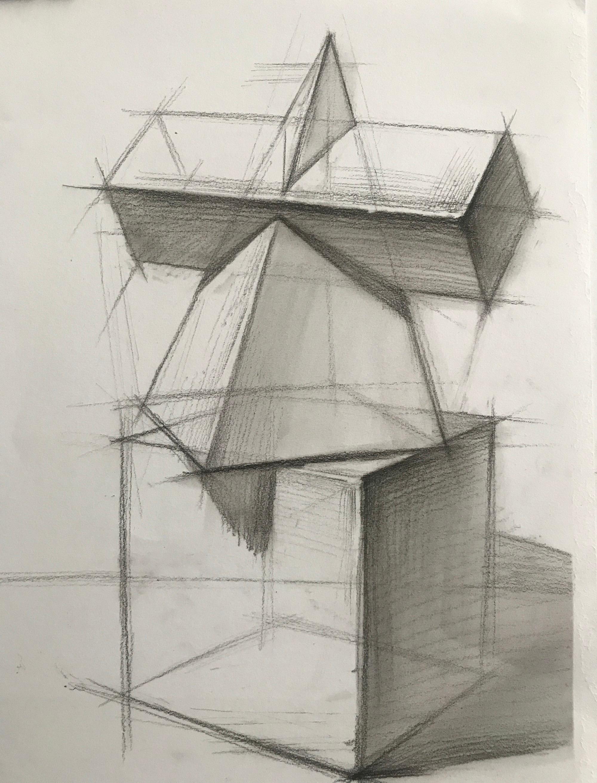 第一七一集 李汉清老师实用素描基础: 几何体组合结构2,范画及照片