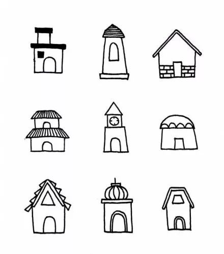【简笔画】幼儿园房子简笔画绘画教程,六一必备简笔画