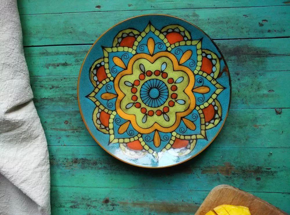 手绘-创意彩绘盘子,有空和小朋友一起画!