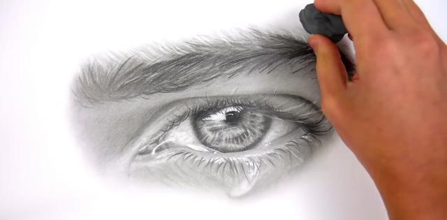 纸擦笔涂抹亮斑处,使亮斑真实而不突兀 好了,本期为止,流泪伤感的眼睛