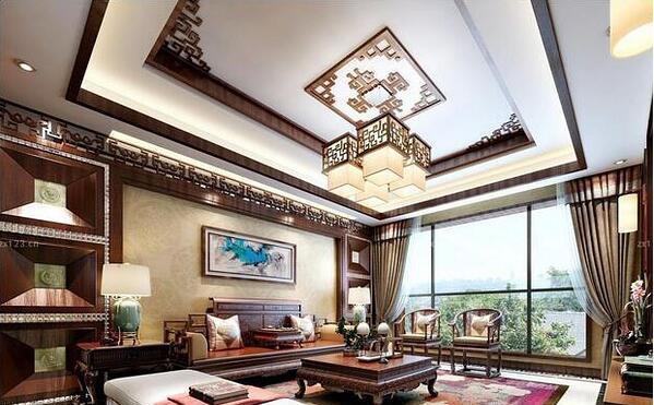 新中式客厅窗帘这么装 古色古香气质出众 你家的窗帘