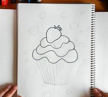 简笔画教程 飞飞教你画爱心草莓蛋糕简笔画!
